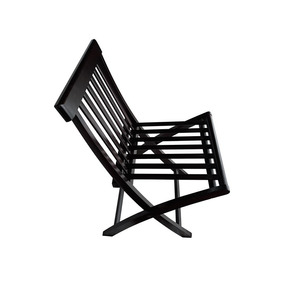Cadeira Dobrável De Madeira De Lei Réguas Verticais 105x45cm
