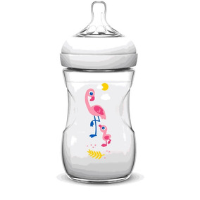 Mamadeira Petala Decorada 260ml Flamingo Scf627/21 Avent