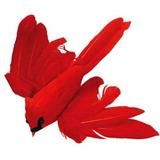 Paquete De 12 Brillante Rojo Aves De Cardenal Artificial