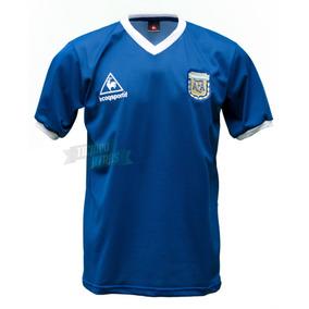 Camiseta Argentina 1986 Retro Suplente Azul Maradona 86 b199855875c7e