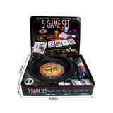 Play Set 5 En 1 En Caja De Metal Ruleta, Poker Y Más