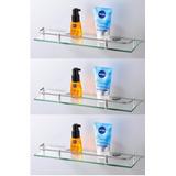 3 Estantes Repisa Vidrio Con Baranda Rectangular Baño Espejo bc60c8c082ad