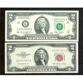 Cedulas De 2 Dolares Americanos -selos Verde E Vermelho