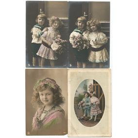 Crianças 1910/1911 - 4 Cartões Postais Com Fotos Colorizadas