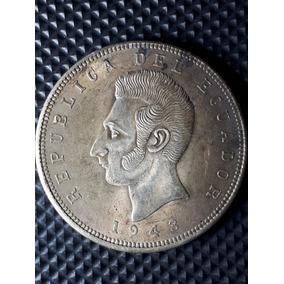 Moneda Antigua-5 Sucres-1943-plata-excelente Estado