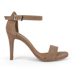 Sandalias Zapatos Dama Tacon Alto Delgado Gamuza Nude 9111