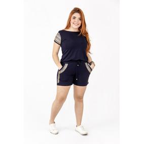 Conjunto Blusa E Shorts Pedraria Moda Femini Plus Size 2019