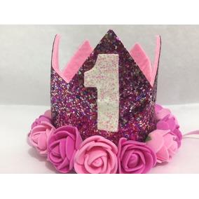 Corona De Cumpleaños Fiuscha 1 Año Flores Fiusha Y Rosas