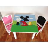 Mesita Y Sillas Infantil Temática Mickey Mouse Mod Crayonera