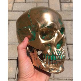 Crânio, Caveira, Efeito Metal Bronze, Grande,esqueleto,maçon