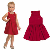 Vestido Infantil Feminino Tricoline Vermelho Festa Colorittá 1e3c6398910