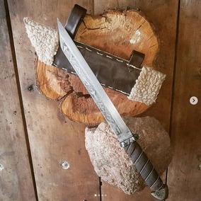 Cuchillo Artesanal Vikingo Seax Acero 5160