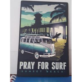 Placa De Madeira - Pray For Surf