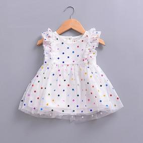 442944a3e6014 Encantador Vestido Blanco Con Lunares Colores Tutu Princesa