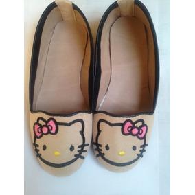 Zapatos De Piso Para Niña, Kitty Bordados Color Beige