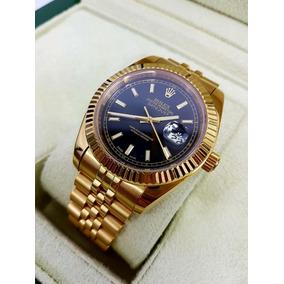 Reloj Rolex Date Just Oro Amarillo Esfera Negra Automatico