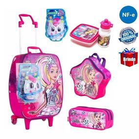 Kit Mala Mochilete Barbie Aventura Original Tam G + Brinde