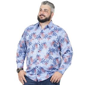 Camisa Plus Size Bigshirts Manga Longa Flamê - Flor