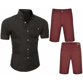 Kit Camisa Social Slim Fit + Bermuda Brim Estilo Canadense