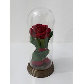 Cúpula Da Bela E A Fera Redoma Com Rosa Vermelha De Veludo
