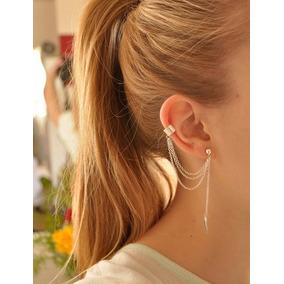2 Brincos Feminino Cadeia Borla Ear Cuff Unidade Prata Eouro