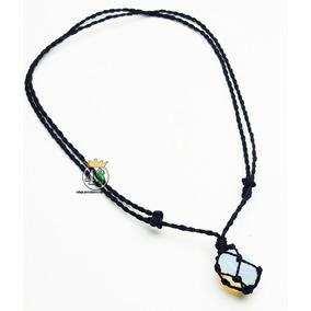 Colar Pedra Da Lua Com Fio Preto Opalina + Frete R$8,00