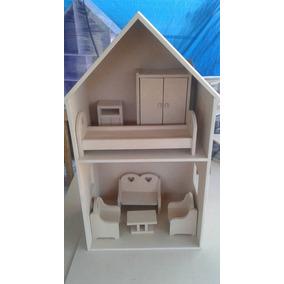 Casa Para Muñeca Barbie Con Muebles De Mdf De 1cm De Grosor