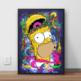 Quadro Simpsons Psicodelico Arte Imagine Homer 42x29 Cm