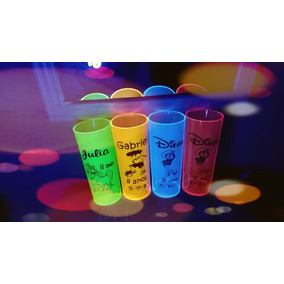Kit 100 Copos Personalizados Long Drink 350 Ml Neons 114,90