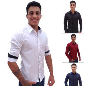 Kit 3 Camisas Social Slim Fit Masculina Atacado Barata4
