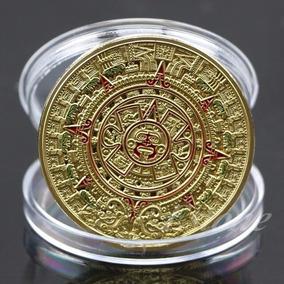 Moeda Asteca Maia Profecia Calendário - Banhado A Ouro