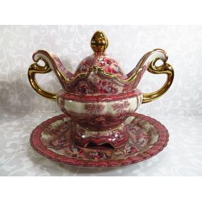 Sopeira Com Presentua Em Porcelana Europeia Bela Decoração