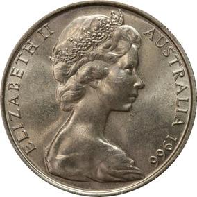 Moeda De Prata .800 - 50¢ - Austrália 1966 - Lote De 10 Un.