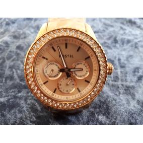 Relógio Original Fossil Dourado Rosé Com Brilhantes