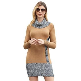 Vestido Suéter De Punto Khaki Gris Casual