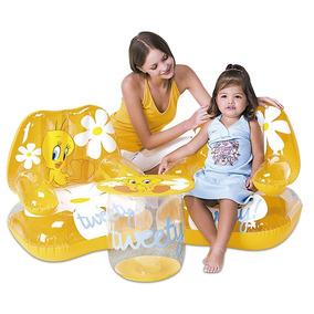 Poltronas Infantil Desenho Piu Piu Bestway C/ Mesa Inflável