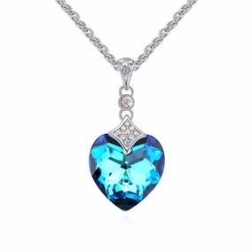 Collar Crystallized Para Dama Piedra Color Azul Certificado