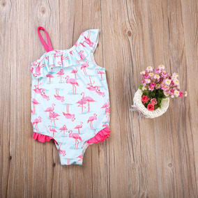 Maiô Menina Flamingos Babados Um Ombro Só Praia Piscina