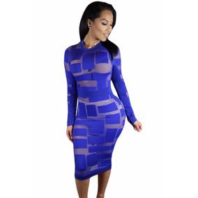 719ff4fece1 Moda Sexy Vestido Azul Con Transparencias Table Dance 22846