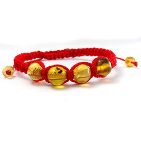 Pulsera Hilo Seda Rojo Con 4 Esferas De Ambar Para Niños