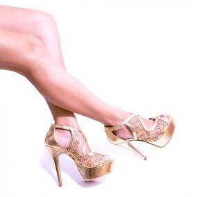 Sandália Plataforma Peep Toe Salto Alto Fino Estilo Importad