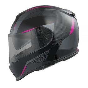 Capacete X11 Revo Com Viseira Interna Preto Rosa