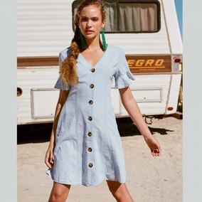 Vestido Básicode Algodón Azul Escote V Con Botones Verano