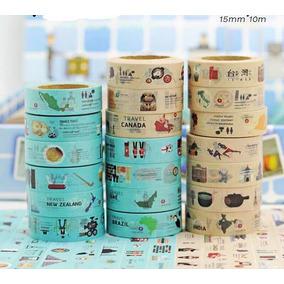 Washi Tape Fita Decorativa Países Viagem