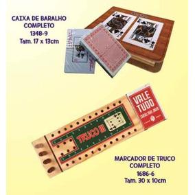 Caixa Personalizada Com Baralho Marcador De Truco Madeira