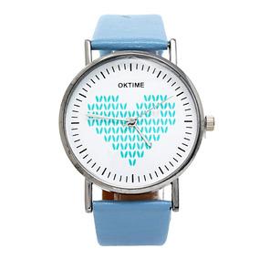 Reloj Análogo Minimalista Con Correa De Cuero Azul Y Rosa