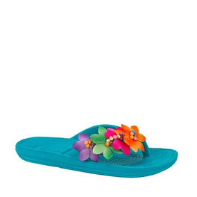 Sandalias Para Playa Hr B85 Verde Agua Con Flores De Mujer