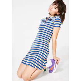 Vestido Bodycon Tipo Camisa Polo Azul Shop 2019 -272
