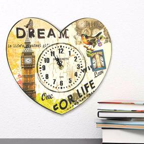Reloj De Pared Corazón Torre, Estilo Vintage 27 X30 Cm.