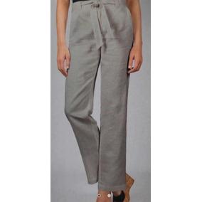 Pantalón Para Mujer De Lino Gris